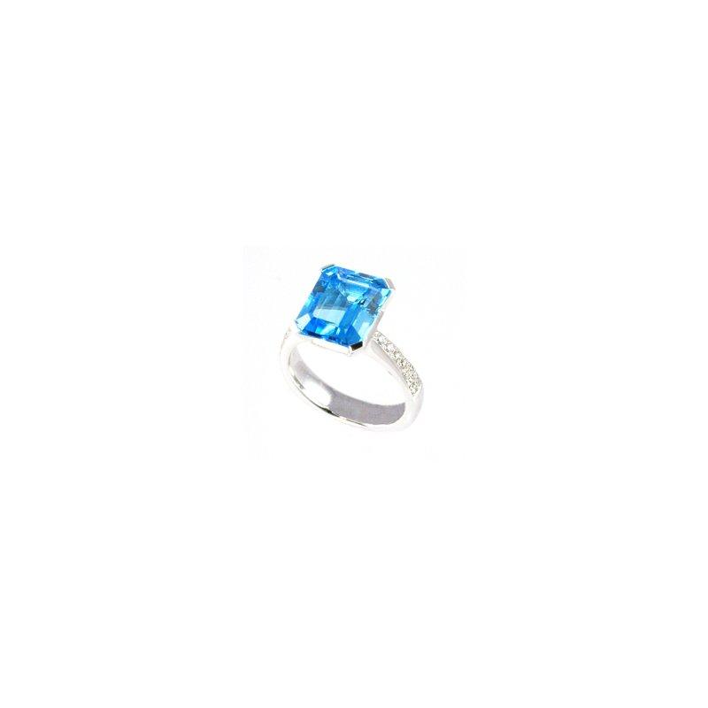 Signature Collection Genuine Blue Topaz & Diamond Ring in 18k White Gold