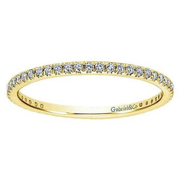 14k Yellow Gold Micro Pavé Set Eternity Ring Anniversary Band by Gabriel NY