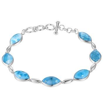 Sterling Silver Marquise Larimar Soft Bracelet
