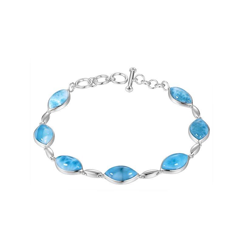 Alamea Larimar  Sterling Silver Marquise Larimar Soft Bracelet