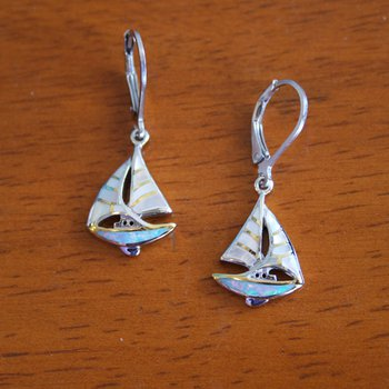Sterling Silver and Gold Plate Sailboat Earrings with White Mother of Pearl and Kyocera Lab Created Opal