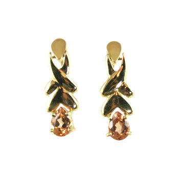 Genuine Imperial Topaz Earrings in 14k Yellow Gold