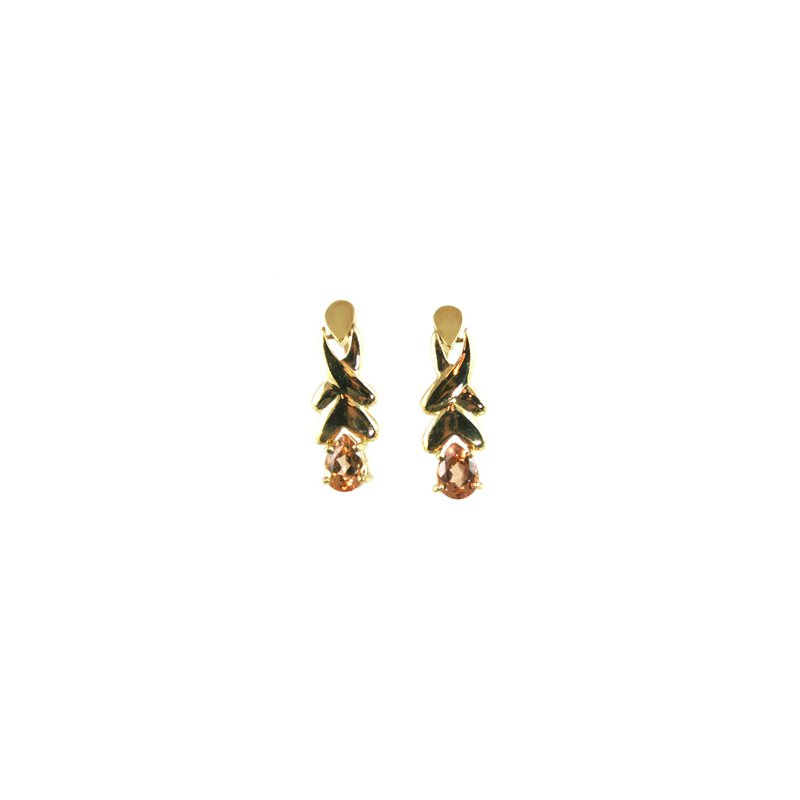 Signature Collection Genuine Imperial Topaz Earrings in 14k Yellow Gold