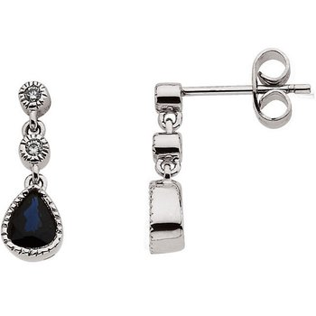 14k White Gold Sapphire and Diamond Teardrop Earrings