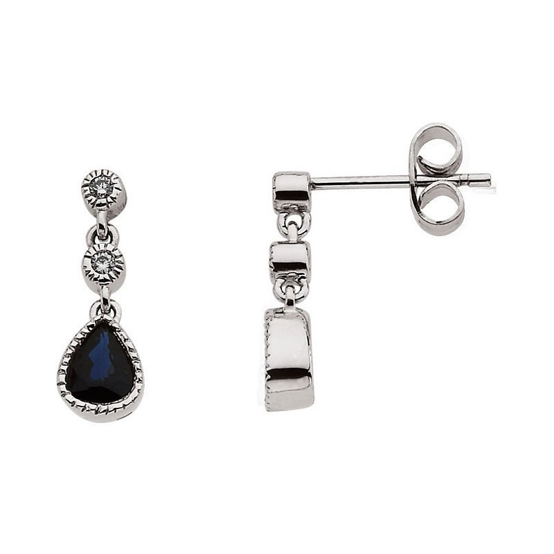 Signature Collection 14k White Gold Sapphire and Diamond Teardrop Earrings