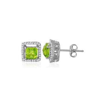 Genuine Peridot & Diamond Earrings in 14k White Gold