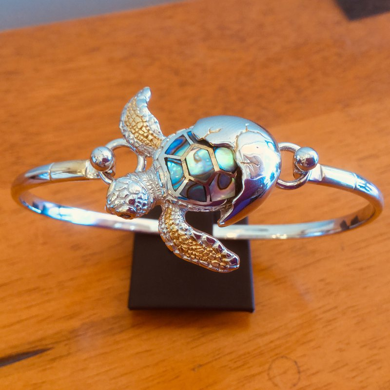 Kovel Sealife Sterling Silver and 18k Gold Plate Turtle Hatchling Topper with Abalone