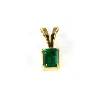 Genuine Colombian Emerald Pendant in 18k Yellow Gold - 29057