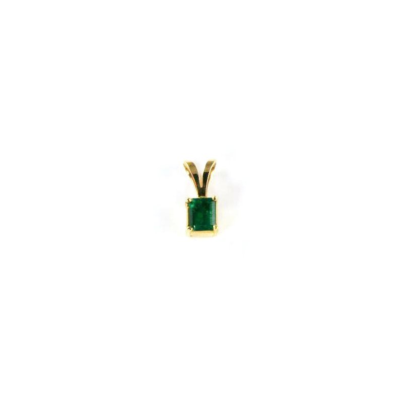 Signature Collection Genuine Colombian Emerald Pendant in 18k Yellow Gold - 29057
