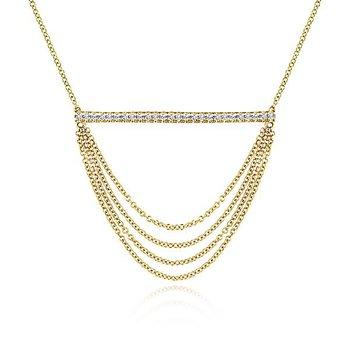 14k Yellow Gold Draped Chain Pave DIamond Bar Necklace by Gabriel NY - Style #NK5793Y