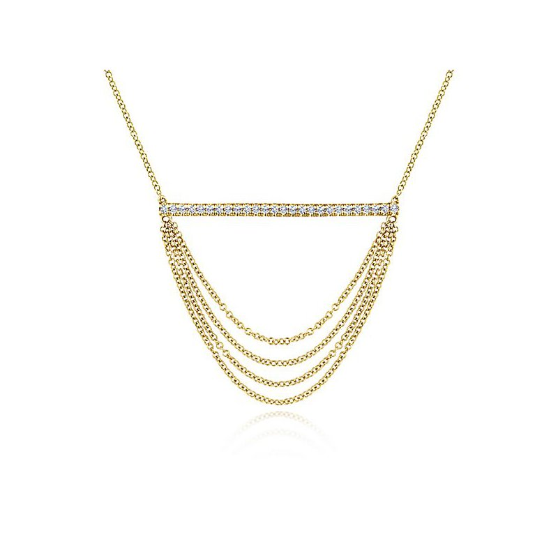 Signature Collection 14k Yellow Gold Draped Chain Pave DIamond Bar Necklace by Gabriel NY - Style #NK5793Y