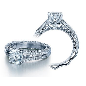 Verragio Venetian 5008 - 18k White Gold Diamond Engagement Ring by Verragio