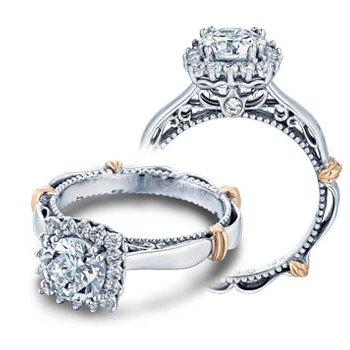 Verragio Parisian-118CU - 14k White and Rose Gold Diamond Halo Engagement Ring by Verragio