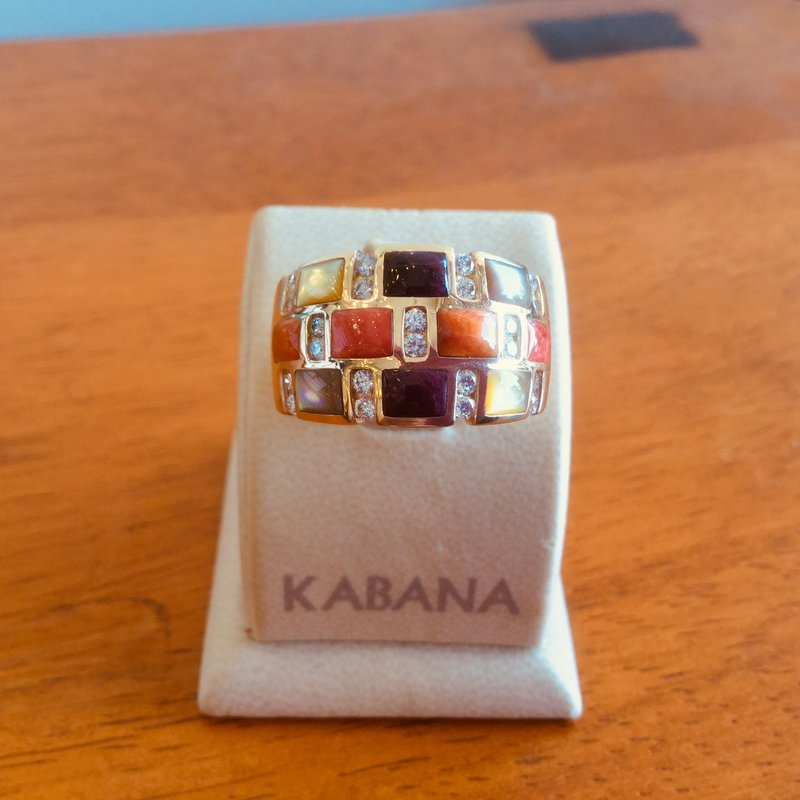 Kabana Jewelry 14k Yellow Gold Spiny Oyster Mother of Pearl & Diamond Ring by Kabana