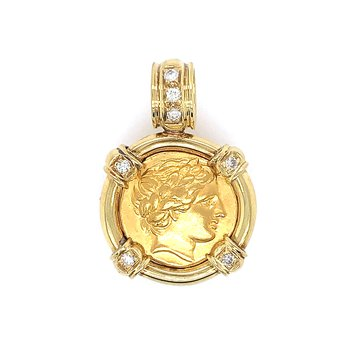 18k Yellow Gold framed Greek Gold Stater Philip II