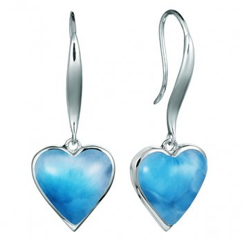 Alamea Collection Sterling Silver Dangle Heart Earrings with Larimar