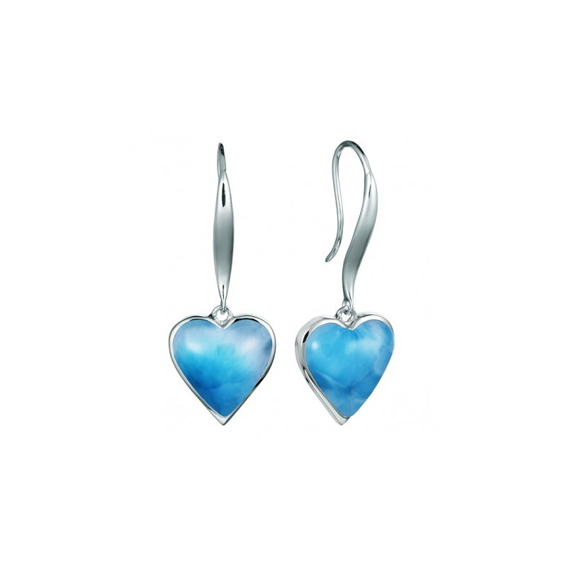 Alamea Larimar  Alamea Collection Sterling Silver Dangle Heart Earrings with Larimar