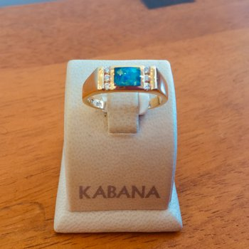 Kabana Square Australian Opal and Diamond Ring #35275