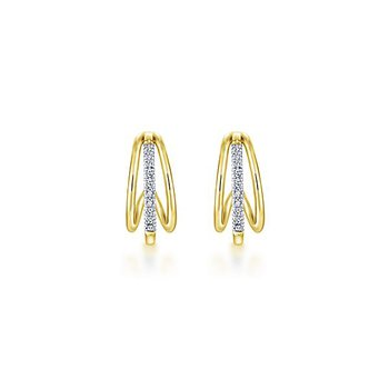 14k Yellow Gold Huggie Diamond Earrings by Gabriel NY