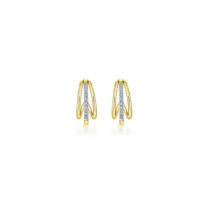 Signature Collection 14k Yellow Gold Huggie Diamond Earrings by Gabriel NY