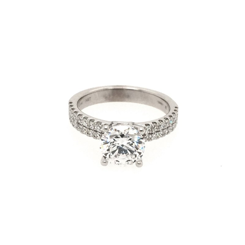 Clearance Ritani 1RZ1324 Double Row French Pave' Diamond Engagement Ring