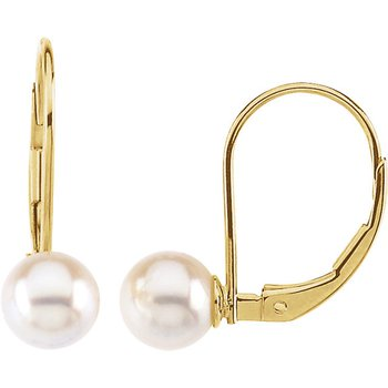 From the Pearl Collection 14k Yellow Gold Leverback Akoya Pearl Earrings