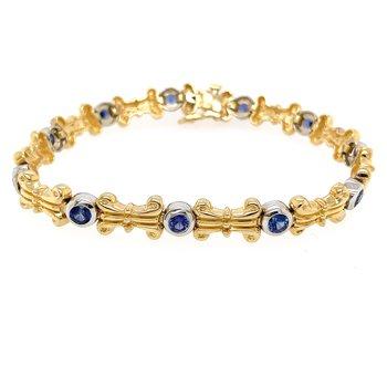 14k Yellow & White Gold Bezel Set Sapphire Bracelet