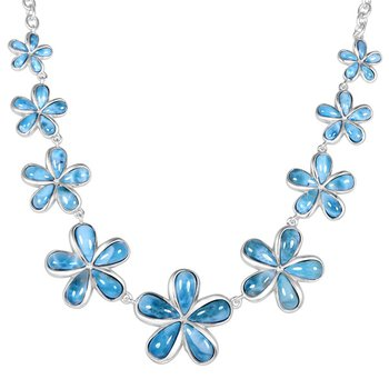Alamea Sterling Silver Plumeria Necklace with Larimar