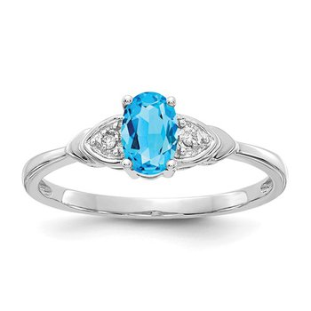 14k White Gold Oval Blue Topaz & Diamond Ring