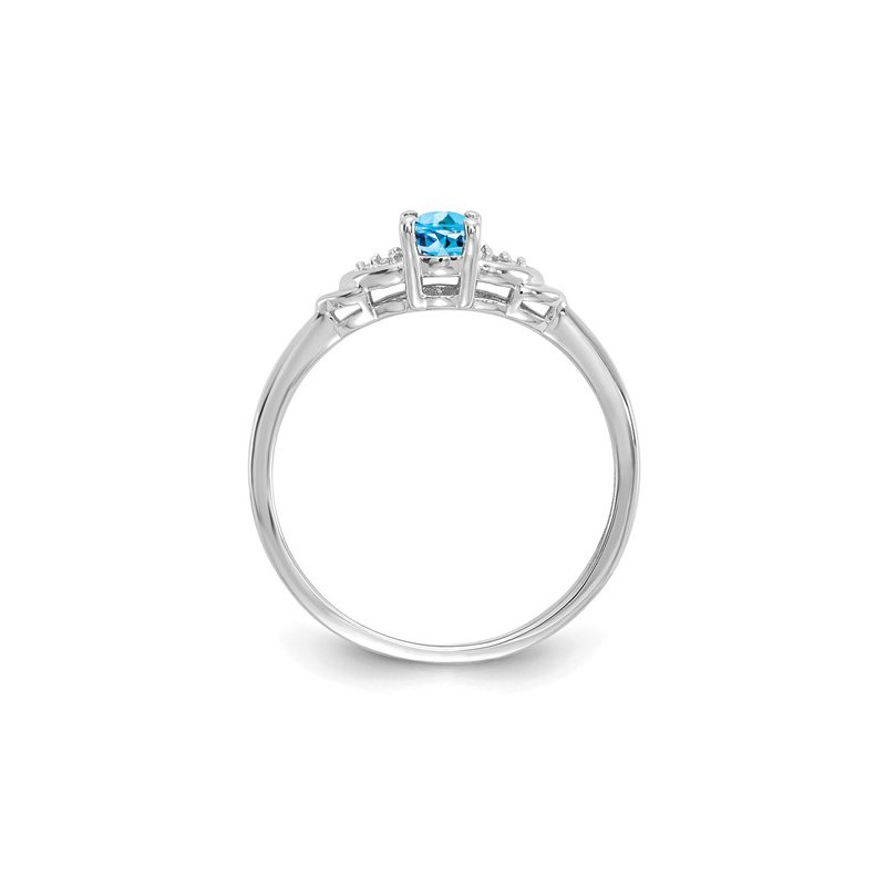 Signature Collection 14k White Gold Oval Blue Topaz & Diamond Ring