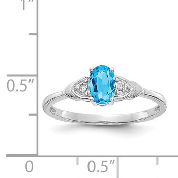 14k White Gold Oval Blue Topaz & Diamond Ring