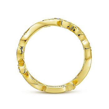14k Yellow Gold Scrolling Floral Ring by Gabriel NY