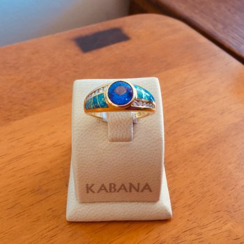 Kabana 18k Yellow Gold Australian Opal, Round Tanzanite and Diamond Ring - #34138