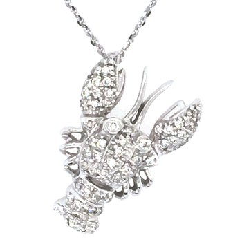 14k White Gold Diamond Lobster Pendant