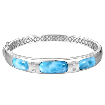 Sterling Silver Bangle Bracelet with Larimar Sections