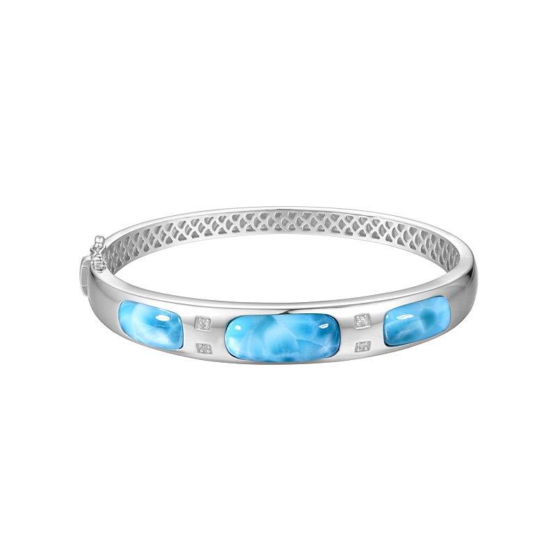 Alamea Larimar  Sterling Silver Bangle Bracelet with Larimar Sections