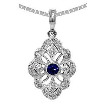 Genuine Sapphire & Diamond Vintage Style  Pendant in 14k White Gold - 36536
