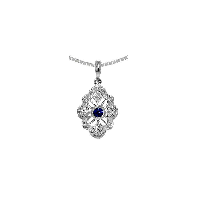 Signature Collection Genuine Sapphire & Diamond Vintage Style  Pendant in 14k White Gold - 36536