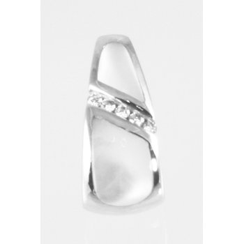 Kabana White Mother of Pearl Inlay and Diamond Pendant in 14k White Gold