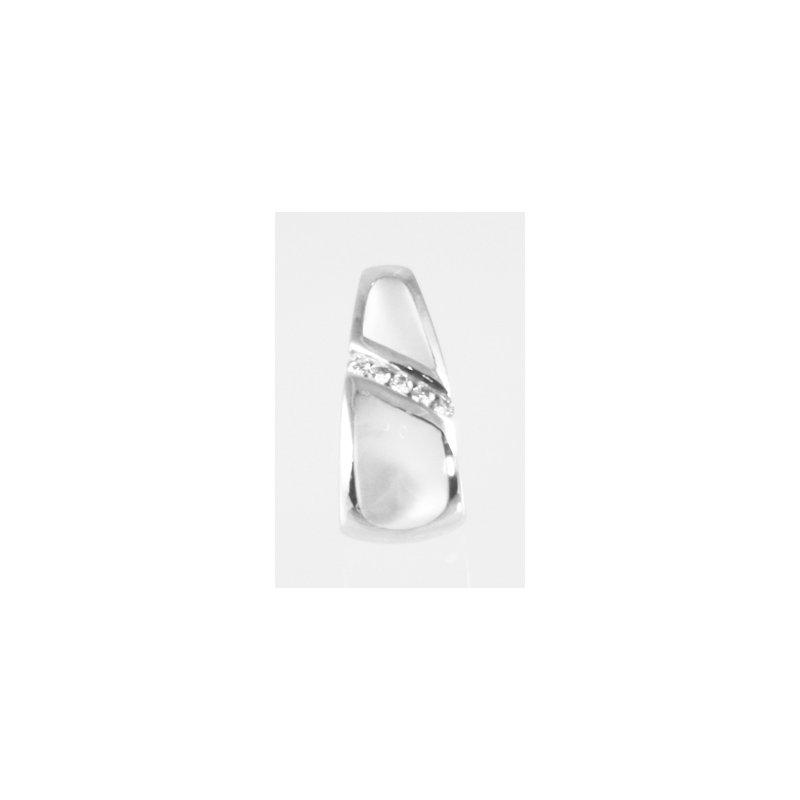 Kabana Jewelry Kabana White Mother of Pearl Inlay and Diamond Pendant in 14k White Gold