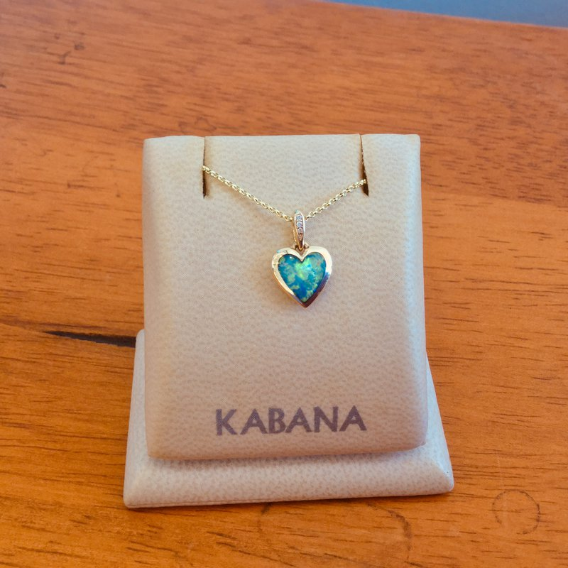 Kabana Jewelry 14k Yellow Gold Kabana Heart Pendant with Australian Opal and Diamond