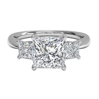 Three-stone Diamond Engagement Ring With Princess-cut Side-diamonds