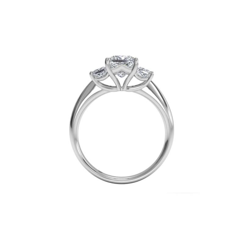 Ritani Clearance Three-stone Diamond Engagement Ring With Princess-cut Side-diamonds
