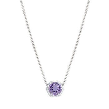 Crescent Station Necklace featuring Amethyst