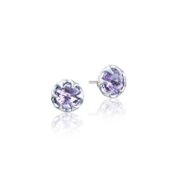 Petite Crescent Bezel Earrings featuring Amethyst