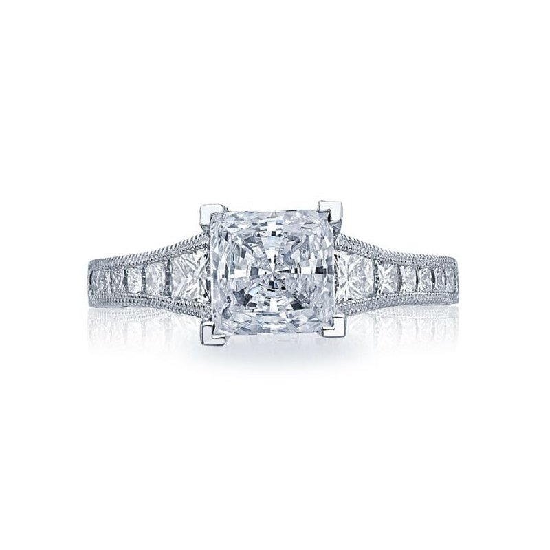 CLEARANCE Tacori Reverse Crescent Princess Cut White Gold Engagement Ring