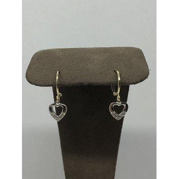 Heart dangle earrings with CZ
