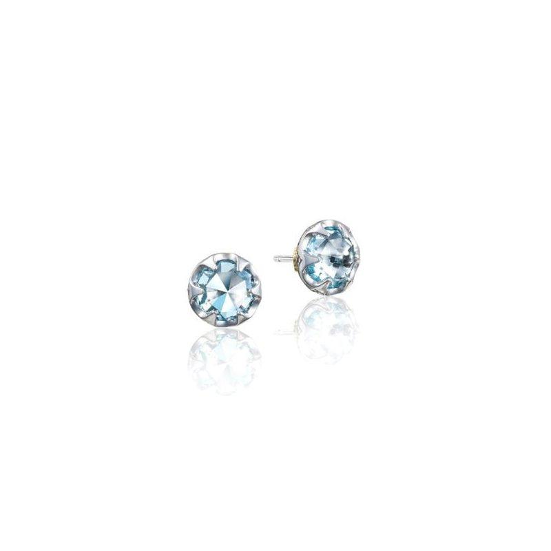 CLEARANCE Tacori Petite Crescent Bezel Earrings featuring Sky Blue Topaz