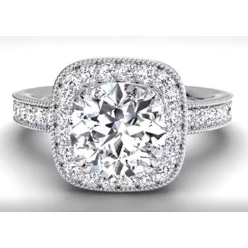 Vintage Cushion Halo Diamond Band Engagement Ring With Surprise Diamonds