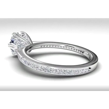 Solitaire Diamond Six-prong Micropavé Band Engagement Ring